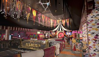 The photo released Monday, Sept. 26, 2016, by Eldorado Resorts Inc. provides an artist's rendering of plans to transform the carnival midway at the Circus Circus hotel-casino in Reno, Nevada into a ''more whimsical European feel.'' It's among $50 million in improvements Eldorado Resorts plans to make over the next three years at the Circus Circus, Eldorado and Silver Legacy hotel-casinos. (Eldorado Resorts Inc. via AP)