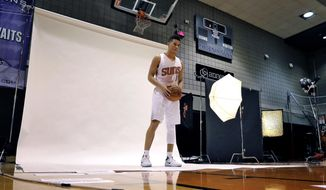 Phoenix Suns' Devin Booker poses for a photo, Monday, Sept. 26, 2016, during the NBA team's media day in Phoenix. (AP Photo/Matt York)