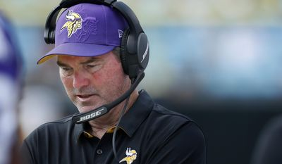 Vikings head coach Mike Zimmer stands on the sideline in the fourth quarter of an NFL football game Sunday, Sept. 25, 2016, in Charlotte, N.C. (Carlos Gonzalez/Star Tribune via AP)