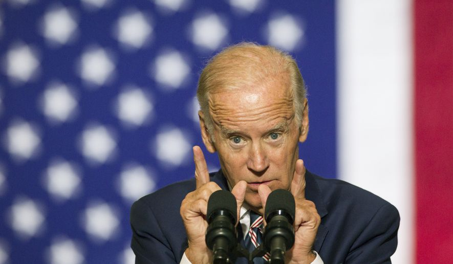 Vice President Joe Biden campaigns at Drexel University, urging students to register to vote and come out for Democratic presidential candidate Hillary Clinton, Tuesday, Sept. 27, 2016 in Philadelphia. (Charles Fox /The Philadelphia Inquirer via AP) ** FILE **