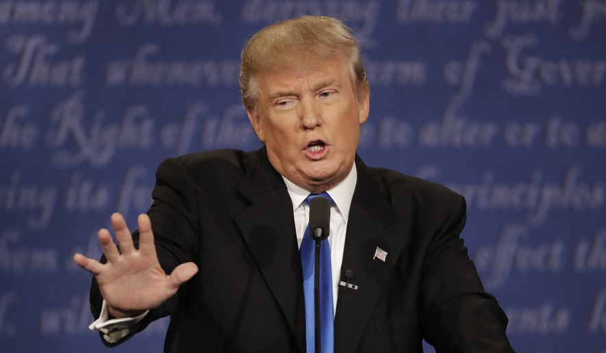 FILE - In this Sept. 26, 2016 file photo, Republican presidential nominee Donald Trump speaks during the presidential debate at Hofstra University in Hempstead, N.Y.  (AP Photo/Patrick Semansky, File)