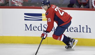 Washington Capitals center Lars Eller (20), of Denmark, skates with the puck during the third period of an NHL preseason hockey game against the Carolina Hurricanes, Monday, Sept. 26, 2016, in Washington. The Hurricanes won 2-1 in overtime. (AP Photo/Nick Wass)