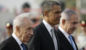 In this March 22, 2013, file photo, President Barack Obama walks on the tarmac with Israeli Prime Minister Benjamin Netanyahu, right, and Israeli President Shimon Peres, left, prior to his departure from Ben Gurion International Airport in Tel Aviv.  Shimon Peres, a former Israeli president and prime minister, whose life story mirrored that of the Jewish state and who was celebrated around the world as a Nobel prize-winning visionary who pushed his country toward peace, has died, the Israeli news website YNet reported early Wednesday, Sept. 28, 2016. He was 93. (AP Photo/Pablo Martinez Monsivais, File)