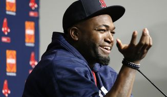 Boston Red Sox designated hitter David Ortiz speaks during a press conference before the first baseball game of a three-game series against the New York Yankees in New York, Tuesday, Sept. 27, 2016. Ortiz, who plans to retire at the end of the 2016 season, reflected on his career and games he has played at Yankee Stadium, citing the 2004 American League Championship Series as particularly meaningful for him. (AP Photo/Kathy Willens)