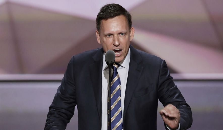 Entrepreneur Peter Thiel speaks during the final day of the Republican National Convention in Cleveland. (AP Photo/J. Scott Applewhite, File) ** FILE **