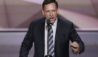 Entrepreneur Peter Thiel speaks during the final day of the Republican National Convention in Cleveland. The U.S. Department of Labor has filed a lawsuit accusing a fast-growing Silicon Valley software company of systematically discriminating against Asian job applicants. Palantir Technologies was co-founded by prominent tech financier Thiel, with backing from an investment arm of the CIA, and was recently valued at about $20 billion. Palantir denied the allegations Monday, Sept. 26, and said it will contest the suit. (AP Photo/J. Scott Applewhite, File) ** FILE **
