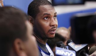 New York Knicks' Carmelo Anthony speaks to reporters during NBA basketball training camp in Tarrytown, N.Y., Tuesday, Sept. 27, 2016. (AP Photo/Seth Wenig)