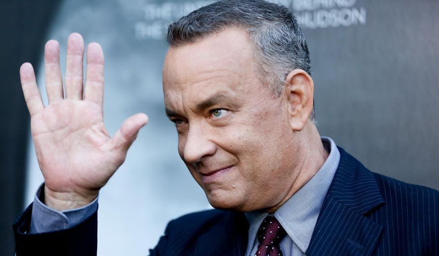 """Tom Hanks arrives at the LA Premiere of """"Sully"""" at The Directors Guild of America Theater in Los Angeles, Sept. 8, 2016, file photo, (Photo by Rich Fury/Invision/AP) ** FILE **"""