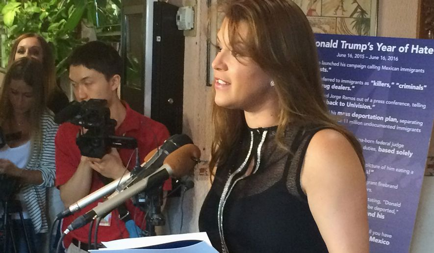 Former Miss Universe Alicia Machado held a news conference at an Arlington, Virginia, restaurant in June to criticize Republican presidential candidate Donald Trump. Ms. Machado became a topic of conversation during the first presidential debate Monday between Mr. Trump and Democratic candidate Hillary Clinton. (Associated Press)