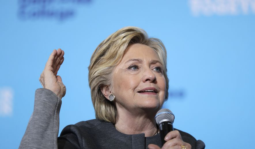 Democratic presidential candidate Hillary Clinton speaks during a campaign stop at the University Of New Hampshire in Durham, N.H., Wednesday, Sept. 28, 2016. (AP Photo/Matt Rourke)