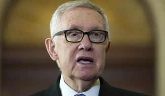 FILE - In this Sept. 14, 2016, file photo, Senate Minority Leader Harry Reid of Nev. speaks with the media on Capitol Hill in Washington. The Senate is poised to reject President Barack Obamas veto of a bill that would allow the families of Sept. 11 victims to sue the government of Saudi Arabia even as lawmakers express fears the legislation could backfire on the United States. I will bet that Obamas veto will not be sustained, said Reid. ( AP Photo/Jose Luis Magana, File)