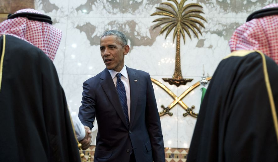 President Obama participates in a receiving line with Saudi King Salman bin Abdul Aziz at Erga Palace in Riyadh on Jan. 27, 2015. (Associated Press)