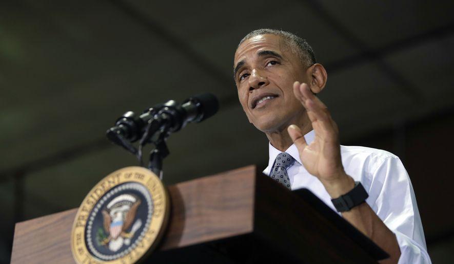 President Barack Obama speaks to members of the military community, Wednesday, Sept. 28, 2016, in Fort Lee, Va. (AP Photo/Carolyn Kaster) ** FILE **