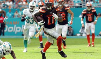 FILE - In this Sunday, Sept. 25, 2016, file photo, Cleveland Browns wide receiver Terrelle Pryor (11) runs the ball during the second half of an NFL football game against the Miami Dolphins in Miami Gardens, Fla. Pryor was a one-man show last week at Miami, playing quarterback, wide recevier and even safety for the Browns. His all-around stats had not been seen in an NFL game since 1959 and now the former QB-turned-receiver is going to be counted on to do it again. (AP Photo/Lynne Sladky, File)