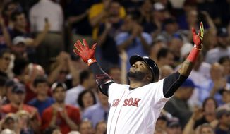 Boston Red Sox designated hitter David Ortiz reacts as he crosses home plate after hitting a two-run home run during the sixth inning of a baseball game against the Baltimore Orioles at Fenway Park in Boston,  June 24, 2015. (Associated Press) ** FILE **
