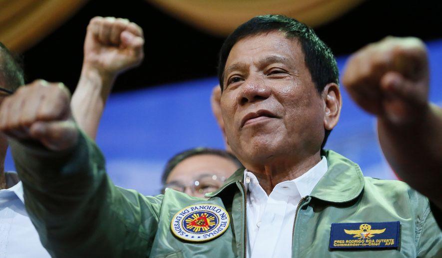 """Hitler massacred three million Jews ... there's three million drug addicts. There are. I'd be happy to slaughter them,"" said Philippine President Rodrigo Duterte. (Associated Press)"