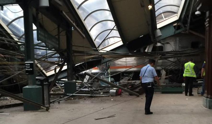 This Thursday, Sept. 29, 2016 photo provided by a passenger who was on the train when it crashed shows wreckage at the Hoboken, N.J. rail station. The commuter train barreled into the station during the morning rush hour, coming to a halt in a covered area between the station's indoor waiting area and the platform. (AP Photo)