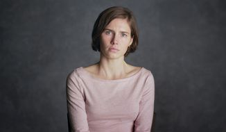 This image released by Netflix shows Amanda Knox in a scene from her self-titled documentary, premiering Friday, Sept. 30 on Netflix. (Netflix via AP)