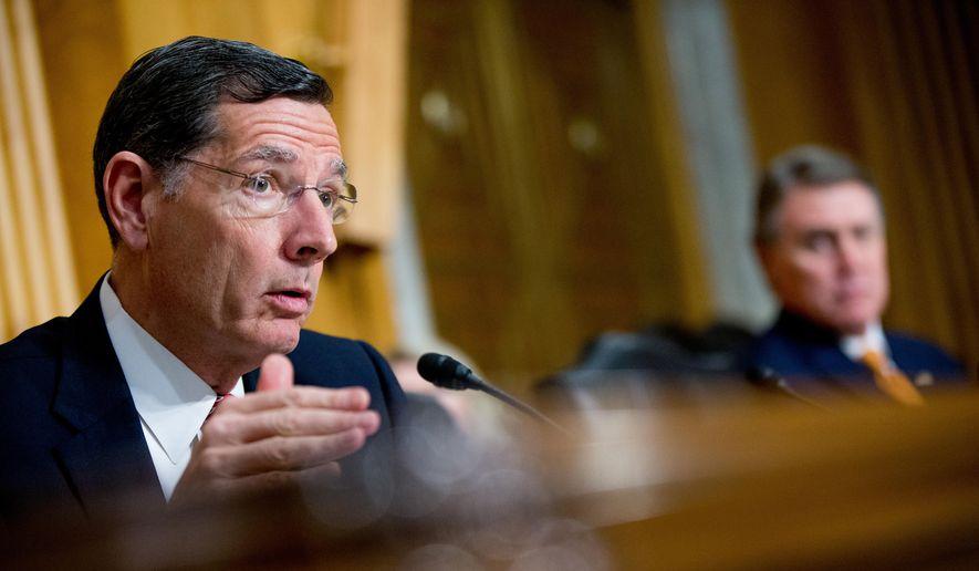Sen. John Barrasso, R-Wyo. speaks on Capitol Hill in Washington on April 5, 2016. (Associated Press) **FILE**