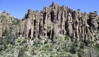 In this 2015 photo provided by Bob Gent shows, rare geological formations in Chiricahua National Monument in southern Ariz. A group of local leaders is advocating for the monument to be re-designated as a national park, which they say would bring more prestige and more tourism to the 92-year-old monument. The monument is 115 miles southeast of Tucson, Ariz. (Bob Gent via AP)