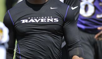 FILE - In this July 31, 2014, file phot, Baltimore Ravens running back Ray Rice walks off the field before addressing the media at a news conference at NFL football training camp in Owings Mills, Md. Unsigned for two years since the release of the horrific video of him punching his then-fiancee, Rice says his second chance has come through a choice to speak out against domestic violence.  (AP Photo/Gail Burton, File)