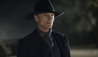 """In this image released by HBO, Ed Harris portrays the Man in Black, in a scene from the HBO series, """"Westworld."""" The 10-episode season premieres Sunday at 9 p.m. EDT. (John P. Johnson/HBO via AP)"""
