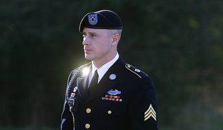 In this Jan. 12, 2016, photo, Army Sgt. Bowe Bergdahl arrives for a pretrial hearing at Fort Bragg, N.C. (AP Photo/Ted Richardson, File)
