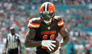 In this Sept. 25, 2016, file photo, Cleveland Browns wide receiver Terrelle Pryor (11) eyes the goal  line as he heads in for a touchdown during the second half of an NFL football game against the Miami Dolphins in Miami Gardens, Fla. (AP Photo/Lynne Sladky, File)