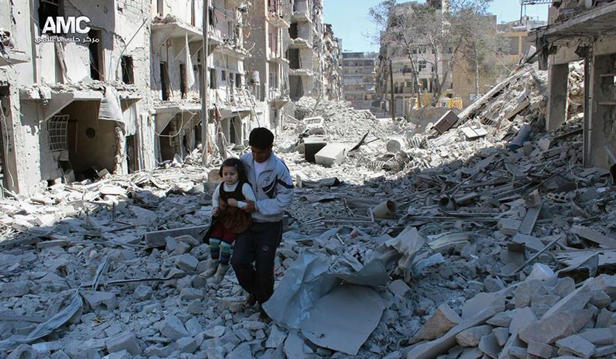 FILE -- In This April 21, 2014, file photo, provided by the anti-government activist group Aleppo Media Center (AMC), which has been authenticated based on its contents and other AP reporting, shows a Syrian man holding a girl as he stands on the rubble of houses that were destroyed by Syrian government forces air strikes in Aleppo, Syria. Nearly 100 children were killed in a single week in Aleppo as Syrian and Russian warplanes sought to bombard into submission the rebel eastern districts of the city that have held out against Syrian government forces for five years. Without hope for the future, no regular schooling and little access to nutritious food, the children of Aleppo and their parents struggle to survive and fear the threat an imminent ground offensive. (AP Photo/Aleppo Media Center AMC, File)