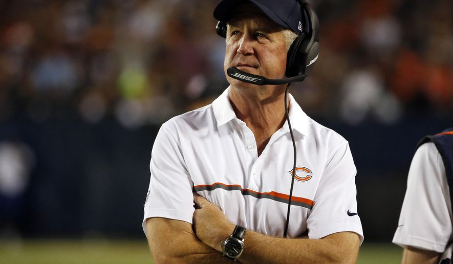 FILE - This Sept. 19, 2016, file photo shows Chicago Bears head coach John Fox watching the action from the sideline during the second half of an NFL football game against the Philadelphia Eagles in Chicago. The Chicago Bears have not won a game this season, and they have not beaten the Detroit Lions in four years. One victory would end two slides. (AP Photo/Nam Y. Huh, File)