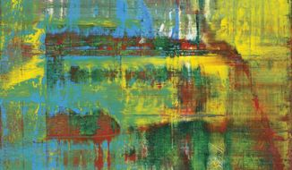 "In this image provided by Christie's is ""Abstract Painting"" by German artist Gerhard Richter. The exuberantly colorful and textured oil-on-canvas, owned by musician Eric Clapton, will be auctioned Nov. 15 in New York. (Christie's via AP)"