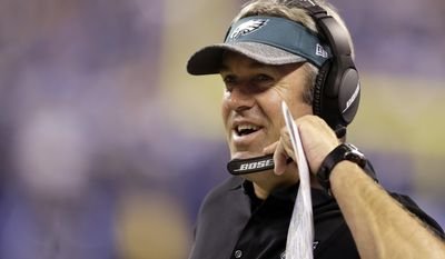 FILE - In this Aug. 27, 2016, file photo, Philadelphia Eagles head coach Doug Pederson smiles on the sideline during the first half of an NFL preseason football game against the Indianapolis Colts in Indianapolis. Carson Wentz and the unbeaten Eagles were the surprise story in the NFL's first month. The hard part now is ignoring the hype. Before players scattered for rest and relaxation during their bye week, coach Pederson cautioned his team about complacency. (AP Photo/Darron Cummings. File)