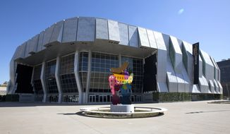This photo taken Tuesday, Sept. 27, 2016, shows the exterior of the new Golden 1 Center in Sacramento, Calif. The 17,500-seat arena is the new home of the NBA's Sacramento Kings basketball team. The Kings' first game in the arena will be a preseason match against Maccabi Haifa, of Israel, Oct. 10. Their first regular-season home game is Oct. 27 against the San Antonio Spurs. (AP Photo/Rich Pedroncelli)