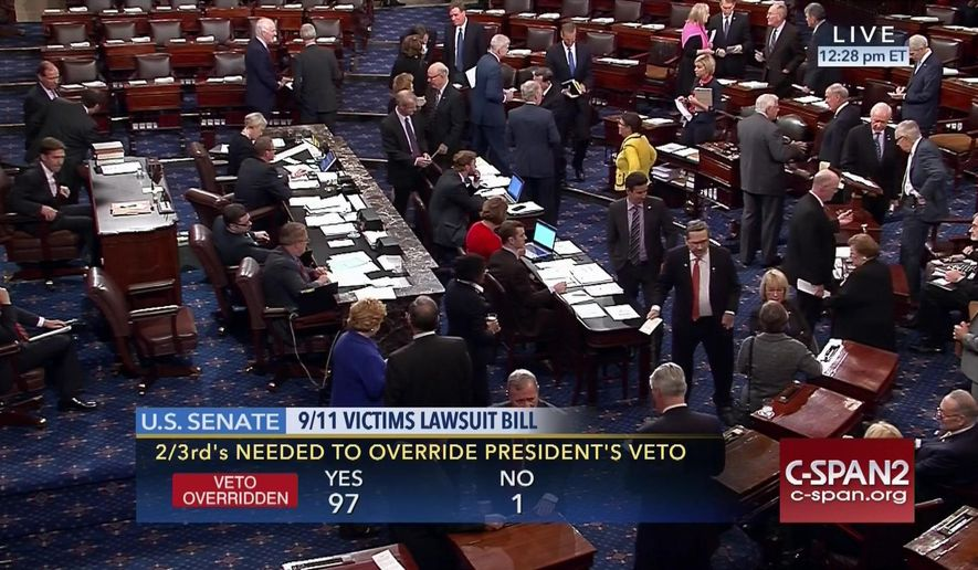 "In this Sept. 28, 2016 image taken from video and provided by C-SPAN2, the floor of the Senate on Capitol Hill in Washington is shown as the Senate acted decisively to override President Barack Obama's veto of Sept. 11 legislation. Although Congress has allowed Sept. 11 victims to sue Saudi Arabia over claims it had a role in the terror attacks, a federal judge has blasted the legal case at the heart of the debate as notoriously weak and full of ""largely boilerplate"" accusations. And the revised law that passed this week over President Barack Obama's veto gives the Justice Department sweeping authority to put the case on hold and fails to eliminate sovereign immunity from protecting Saudi Arabia assets. (C-SPAN2 via AP, File)"