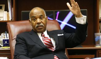 Fourth Circuit Court of Appeals, Chief Justice Roger Gregory, gestures during an interview in his office in Richmond, Va., Tuesday, Sept. 27, 2016. Gregory oversees the powerful court which hears appeals from Virginia, Maryland West Virginia, North Carolina, and South Carolina. (AP Photo/Steve Helber)