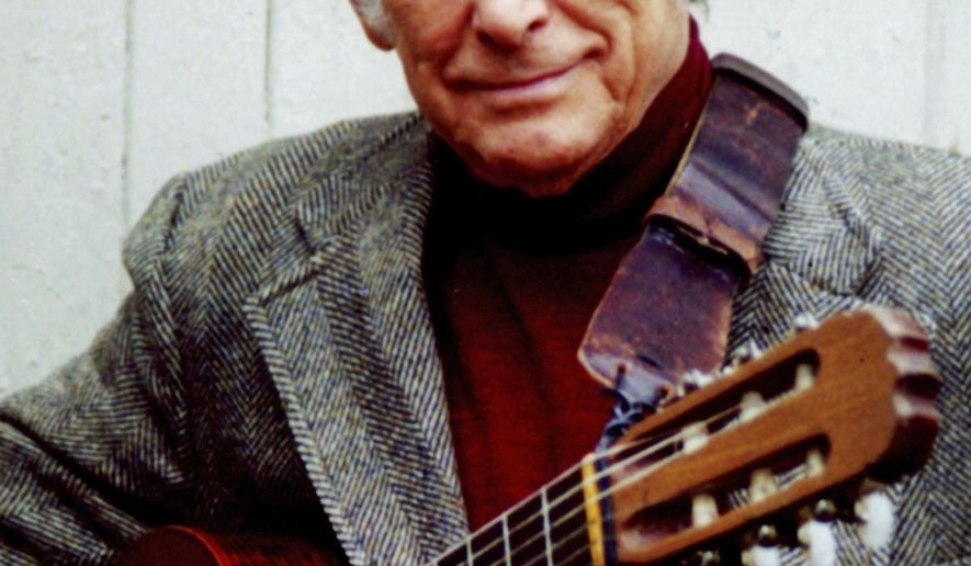 "This undated photo provided by Courtesy of the Estate of Oscar Brand, shows folk singer, writer and radio host, Oscar Brand. Brand, a longtime force on the American folk scene whose radio program ""Folksong Festival"" showcased Woody Guthrie and a young Bob Dylan among music greats and newcomers, died, Friday, Sept. 30, 2016, his manager said Saturday. He was 96. (Courtesy Estate of Oscar Brand via AP)"