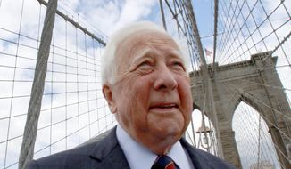 "FILE - In this May 10, 2012 file photo, author David McCullough, two-time Pulitzer Prize winner for books ""Truman"" and ""John Adams,"" walks over the Brooklyn Bridge while being interviewed in New York.  McCullough will become an honorary ranger in a ceremony Tuesday , Oct. 4, 2016  in Boston. It's the highest civilian honor awarded by the National Park Service, reserved for individuals who have made exceptional contributions.  (AP Photo/Bebeto Matthews)"