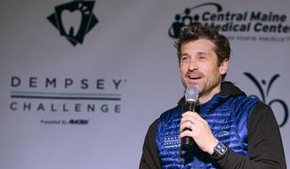 "Actor Patrick Dempsey welcomes the crowd prior to the start of the bike-and-run ""Dempsey Challenge""     Saturday, Oct. 1, 2016 in Lewiston, Maine.  The Maine native, who plays a starring role in the new romance-comedy, ""Bridget Jones's Baby,"" participated Saturday in a cancer survivor walk with his three children and two sisters.   (Russ Dillingham/The Lewiston Sun-Journal via AP)"