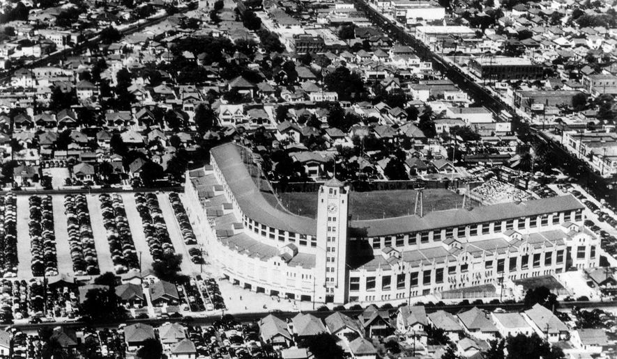 This March 21, 1961, file photo, shows an aerial view of Wrigley Field baseball stadium  in Los Angeles. Far less famous than its namesake stadium in Chicago, this was another minor-league park that was temporary home for the expansion Los Angeles Angels their first season. The Angels moved to Dodger Stadium the following year as tenants to the city's other major league team until Anaheim Stadium opened in 1966. (AP Photo/File)