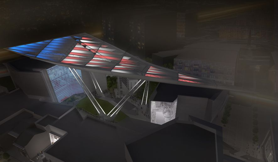 This computer rendering provided by The National World War II Museum, shows what the Bollinger Canopy of Peace, which will be located in New Orleans' Central Business District, is proposed to look like.  The building is one of two new structures being added to the National World War II Museum campus to provide additional exhibition space, classrooms, a library offices and retail.  (Voorsanger Mathes LLC./The National World War II Museum via AP)