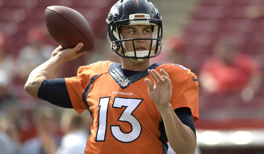 Denver Broncos quarterback Trevor Siemian (13) warms up before an NFL football game against the Tampa Bay Buccaneers in Tampa, Fla., Thursday, Dec. 31, 2015. (AP Photo/Phelan M. Ebenhack)