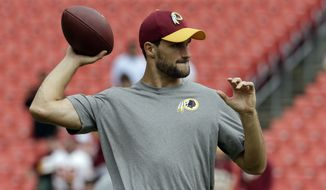Washington Redskins quarterback Kirk Cousins (8) throws during warm ups before an NFL football game against the Cleveland Browns Sunday, Oct. 2, 2016, in Landover, Md. (AP Photo/Chuck Burton)