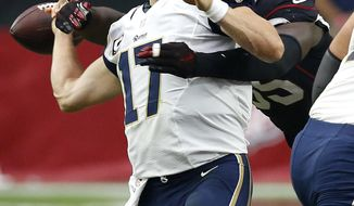 Los Angeles Rams quarterback Case Keenum (17) is fumbles as he is sacked by Arizona Cardinals outside linebacker Chandler Jones (55) during the second half of an NFL football game, Sunday, Oct. 2, 2016, in Glendale, Ariz. The Cardinals recovered the football. (AP Photo/Ross D. Franklin)