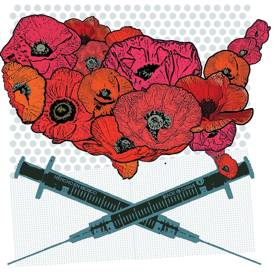 Illustration on the Chinese/Mexican wave of heroin into the U.S. by Linas Garsys/The Washington Times