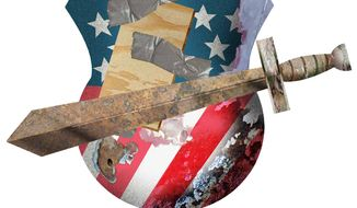 Illustration on the state of the nations national defense forces by Alexander Hunter/The Washington Times