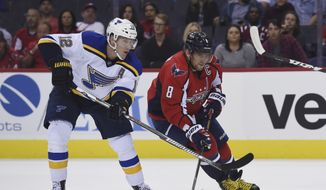 Washington Capitals left wing Alex Ovechkin (8), of Russia, eyes the puck next to St. Louis Blues center Jori Lehtera (12), of Finland, during first period of an NHL preseason hockey game, Monday, Oct. 3, 2016, in Washington. (AP Photo/Molly Riley)