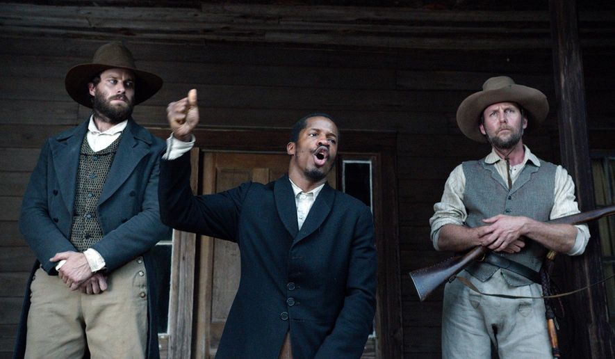 """In this image released by Fox Searchlight Pictures, from left, Armie Hammer portrays Samuel Turner, Nate Parker portrays Nat Turner and Jayson Warner Smith portrays Earl Fowler in a scene from """"The Birth of a Nation,"""" opening Oct. 7, 2016. (Fox Searchlight Pictures via AP)"""