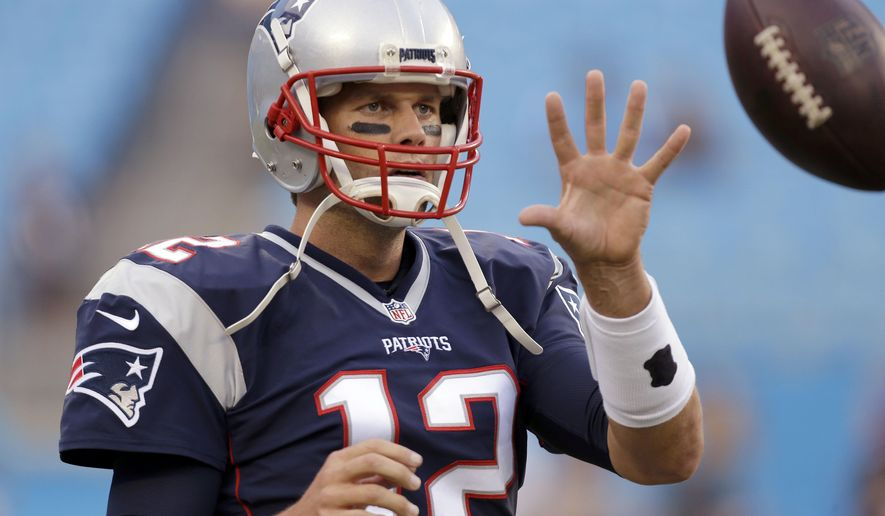 FILE  - In this Aug. 26, 2016 file photo, New England Patriots quarterback Tom Brady warms up before an NFL preseason football game against the Carolina Panthers in Charlotte, N.C. A lot has happened in the first month of the season since Tom Brady began his four-game suspension. He is eligible to return to the team on Monday, Oct. 3. (AP Photo/Bob Leverone)