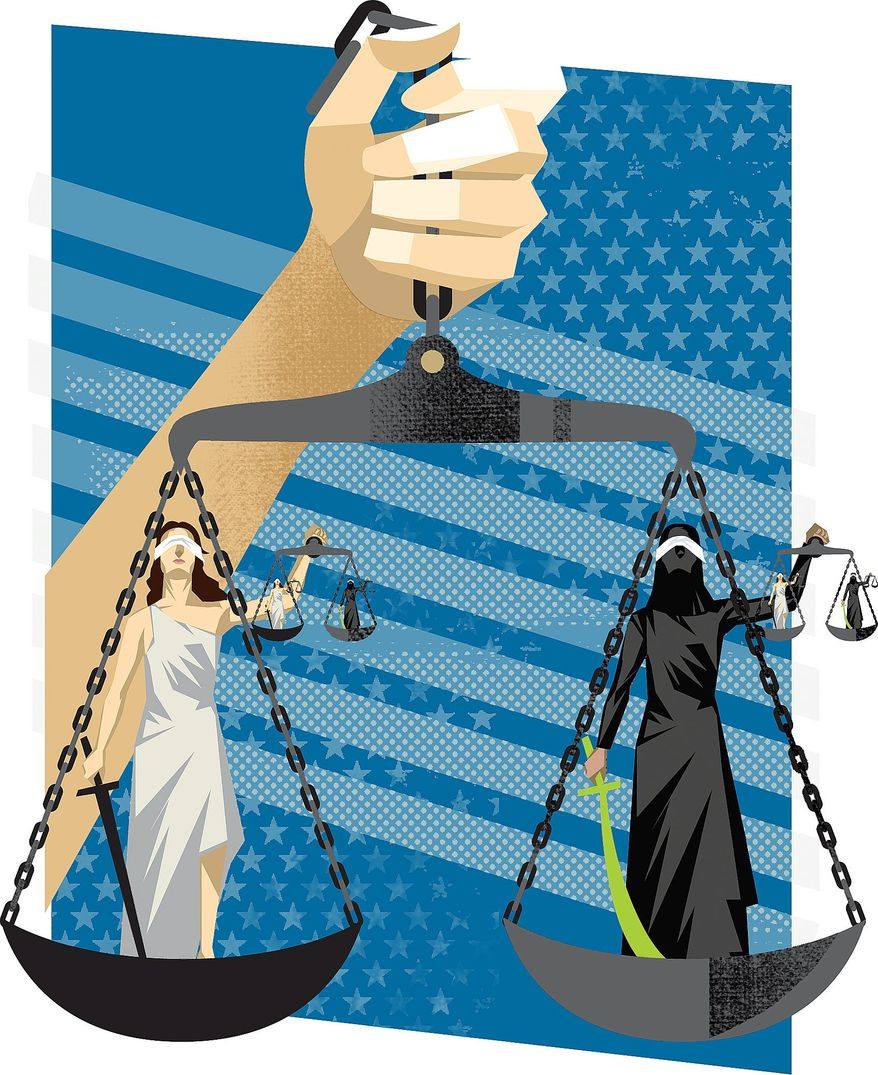 Illustration on the challenge presented by Shariah law by Linas Garsys/The Washington Times