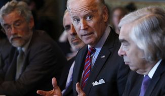 Vice President Joe Biden speaks during a meeting of the Cancer Moonshot Task Force, Tuesday, Oct. 4, 2106, in the Eisenhower Executive Office Building on the White House complex in Washington. Joining the Vice President from left are John Holdren, Director of the White House Office of Science and Technology Policy, Greg Simon of the Vice Presidents office, Biden, and Energy Secretary Ernest Moniz. (AP Photo/Carolyn Kaster)